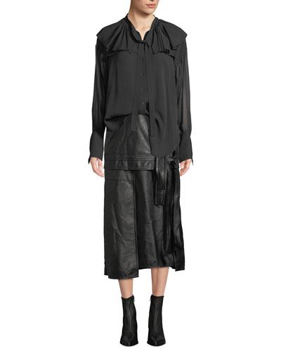 Silk Shirt W Ruffle Collar and Matching Items