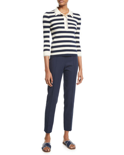 3/4-Sleeve Striped Cashmere-Silk Polo Top and Matching Items