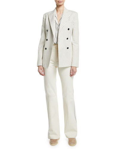 Double-Breasted Pinstripe Cashmere Blazer and Matching Items
