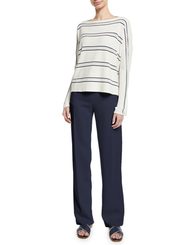 Boat-Neck Large-Stripe Cashmere-Silk Sweater and Matching Items