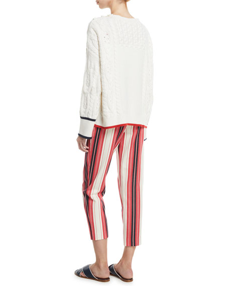 Boat-Neck Long-Sleeve Cable-Knit Cashmere Sweater