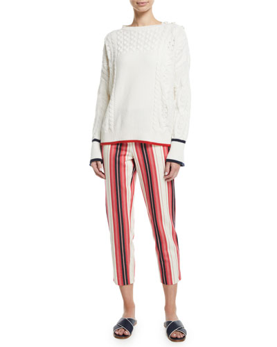 Boat-Neck Long-Sleeve Cable-Knit Cashmere Sweater and Matching Items
