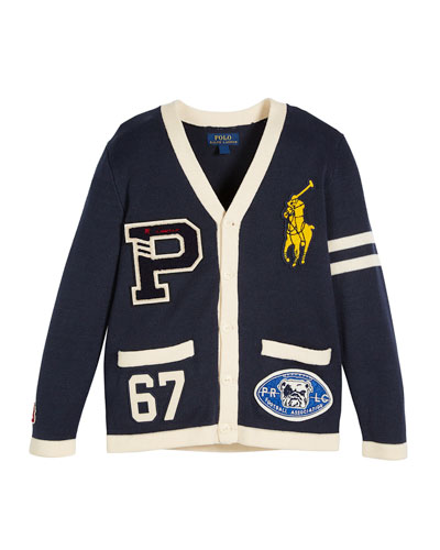 V-Neck Cardigan Sweater w/ Logo Patches, Size 2-4  and Matching Items