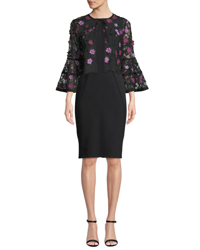 Full-Sleeve Tie-Neck Floral-Lace Cocktail Bolero Jacket and Matching Items