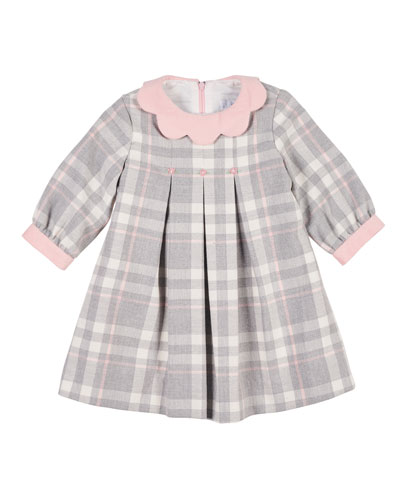 Plaid Long-Sleeve Dress w/ Embroidered Flowers, Size 3-24 Months  and Matching Items