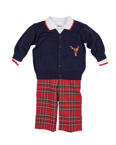 Tartan Plaid Pants, Knit Sweater & Long-Sleeve Polo Top, Size 12-24 Months  and Matching Items