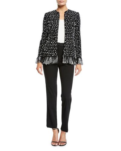 Tweed Ribbon Jacket with Fringe Hem and Matching Items
