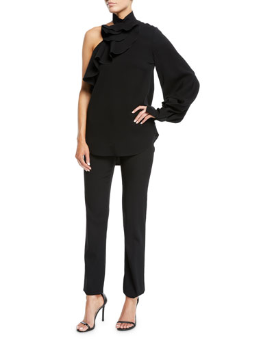 One-Shoulder Long-Sleeve Ruffle Stretch-Wool Top and Matching Items