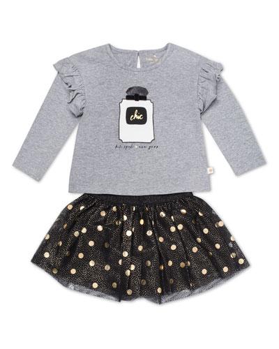 chic ruffle-trim top w/ metallic polka-dot skirt, size 12-24 months  and Matching Items