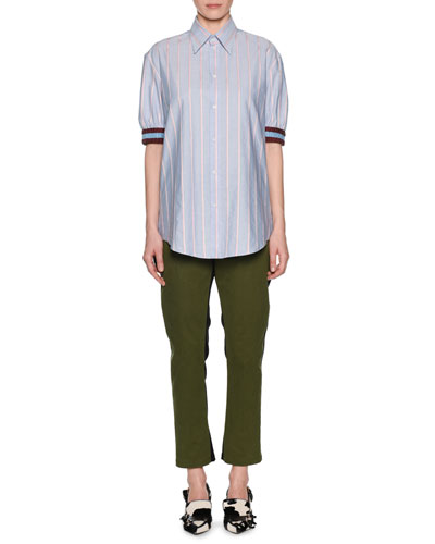 Striped Point-Collar Button-Front Shirt and Matching Items