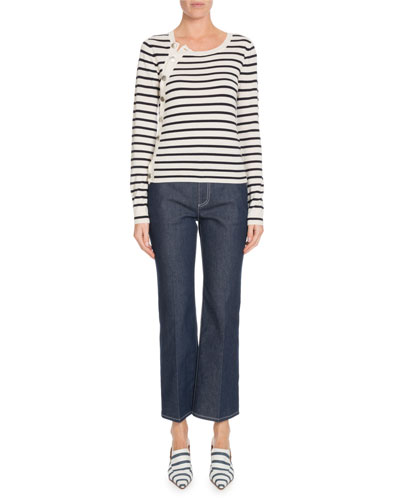 Button-Side Long-Sleeve Crewneck Striped Sweater and Matching Items