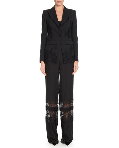 Tonal Lace One-Button Wool Blazer w/ Lace Panels and Matching Items