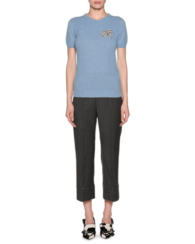 Short-Sleeve Knit Cashmere Top with Brooch and Matching Items