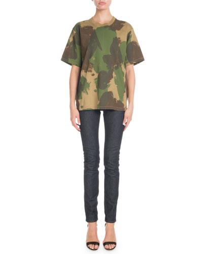 Crewneck Short-Sleeve Camo-Print Cotton T-Shirt and Matching Items