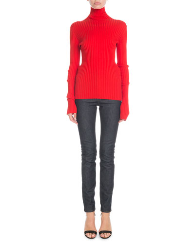 Turtleneck Long-Sleeve Ribbed-Knit Sweater and Matching Items