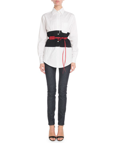 Long-Sleeve Button-Front Colorblock Belted Shirt and Matching Items