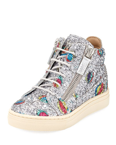 Glittered Balloon Leather High-Top Sneakers, Toddler  and Matching Items