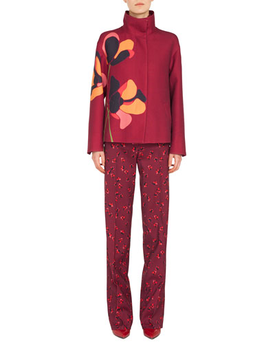Stand-Collar Anemone-Floral Embroidered Wool Jacket  and Matching Items
