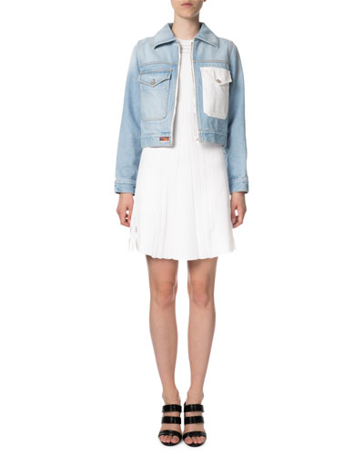 Zipped Denim Jacket Embr. Ro and Matching Items