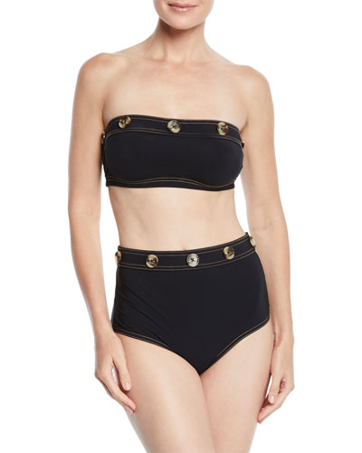 Lauren Button-Trim Bandeau Swim Top  and Matching Items