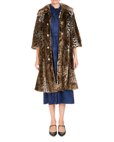 Sorayah Leopard-Print Faux-Fur 3/4-Sleeves Mid-Length Coat and Matching Items