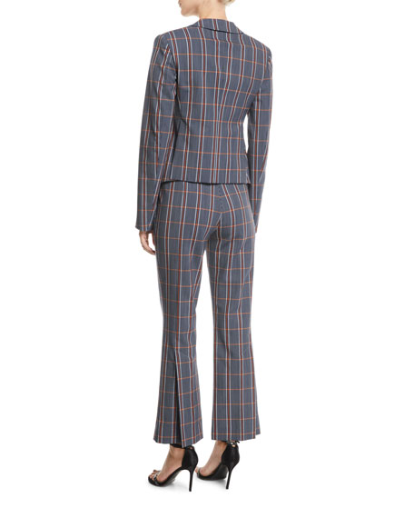 Notch-Lapel One-Button Plaid Wool Jacket