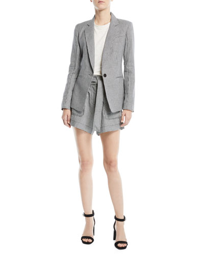 Single-Button Check Linen-Blend Blazer and Matching Items