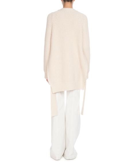 V-Neck Button-Front Self-Tie Split-Sides Cashmere-Blend Cardigan