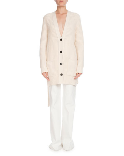 V-Neck Button-Front Self-Tie Split-Sides Cashmere-Blend Cardigan and Matching Items