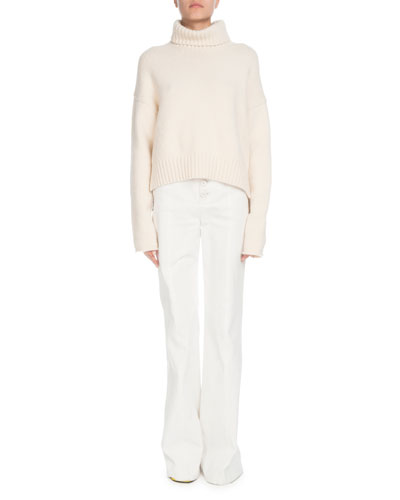 High-Waist Flare-Leg Twill Pants  and Matching Items