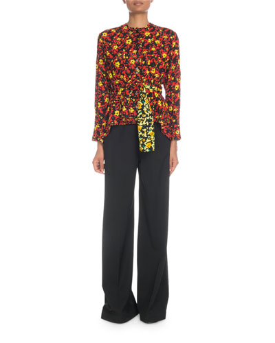 Long-Sleeve Button-Front Floral-Print Viscose Georgette Blouse and Matching Items