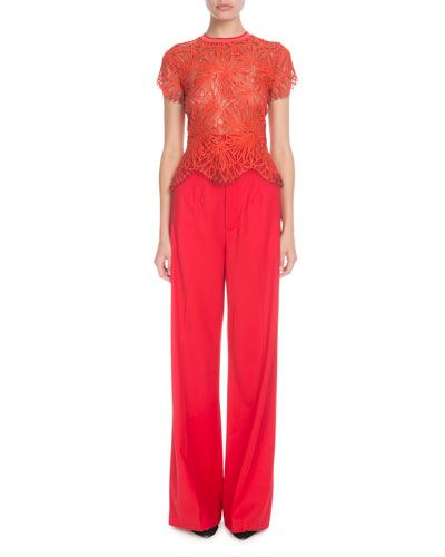 High-Waist Flare-Leg Twill Pants, Red  and Matching Items