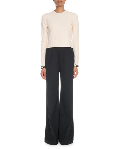 Zigzag-Cuffs Cropped Viscose Knit Top and Matching Items