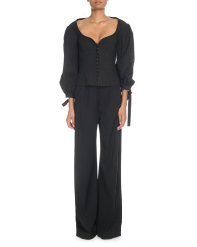Sweetheart-Neck Puff-Sleeve Corset Top and Matching Items