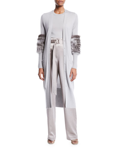 Fur-Sleeve Button-Front Long Cashmere-Silk Cardigan and Matching Items