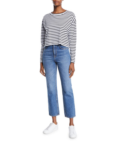 Roberts Striped Long-Sleeve Cropped Tee and Matching Items
