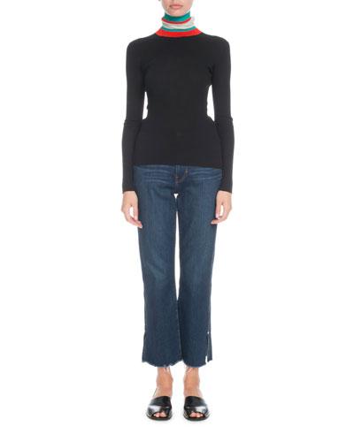 Striped Turtleneck Lightweight Rib Sweater and Matching Items