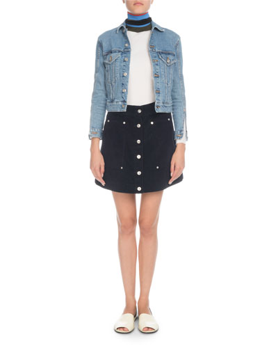 Button-Front Cropped Jean Jacket  and Matching Items