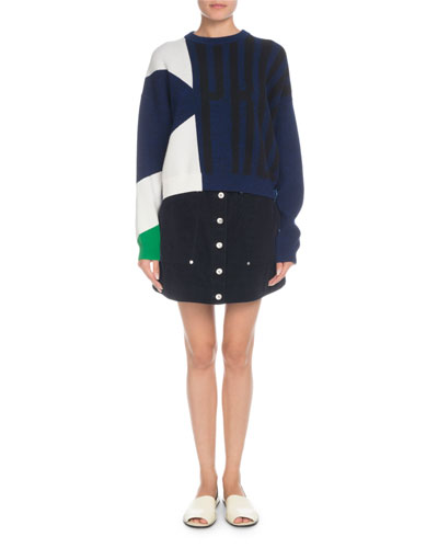 Crewneck Viscose Cotton Jacquard Sweater and Matching Items