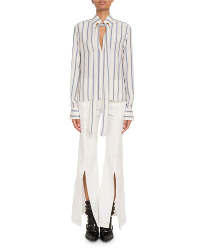 Tie-Neck Keyhole-Front Long-Sleeve Striped Silk Blouse and Matching Items