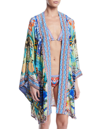 Printed Silk Kimono Coverup Robe with Belt and Matching Items