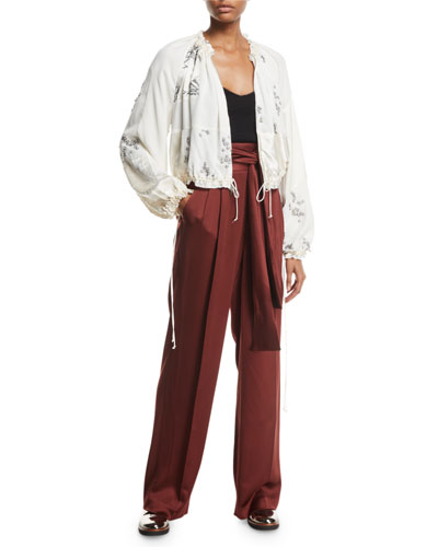 Waist-Tie Wide-Leg Crepe Satin Pants  and Matching Items