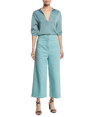 Demi Wide-Leg Garment-Dyed Twill Cropped Jeans  and Matching Items