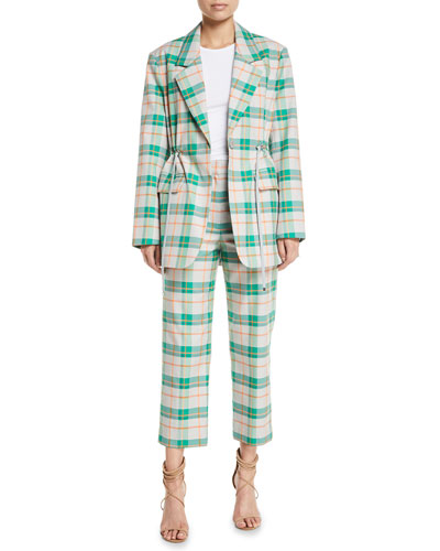 Single-Breasted Drawstring-Waist Oversized Plaid Blazer and Matching Items