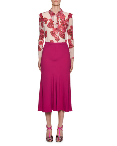Long-Sleeve Ruffled-Trim Floral-Print Silk Blouse and Matching Items