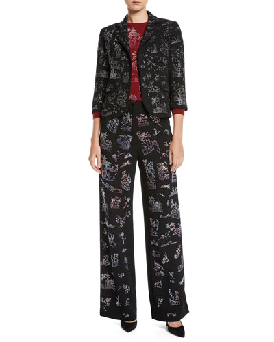 Chinoiserie Crystal One-Button 3/4-Sleeve Wool Blazer  and Matching Items