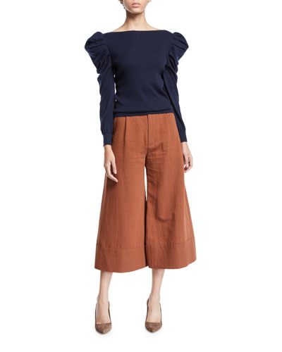 Puff-Sleeve Boat-Neck Fine Cashmere Sweater and Matching Items