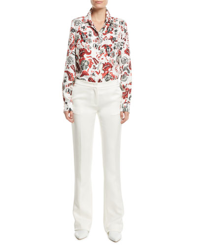 Henri Button-Front Floral-Print Silk Blouse and Matching Items