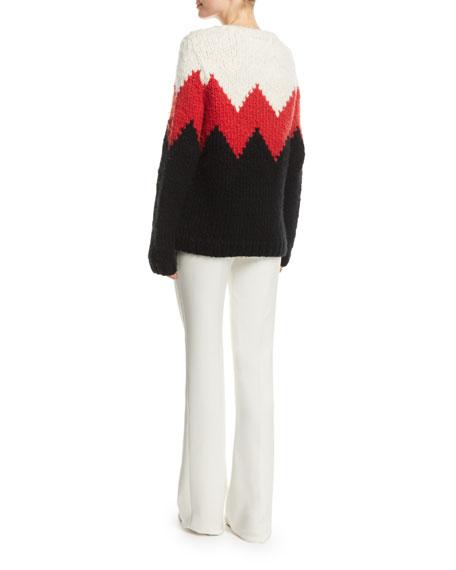 Crewneck Zigzag Cashmere Fluff Sweater