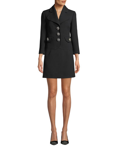 Jewel-Buttons Cropped Wool Crepe Broadcloth Jacket and Matching Items
